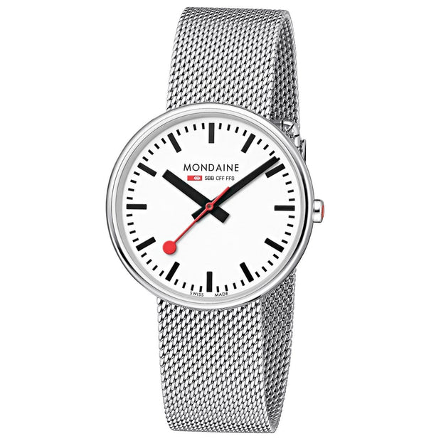 Mondaine Official Swiss Railways Giant Backlight with a Stainless Steel Stap