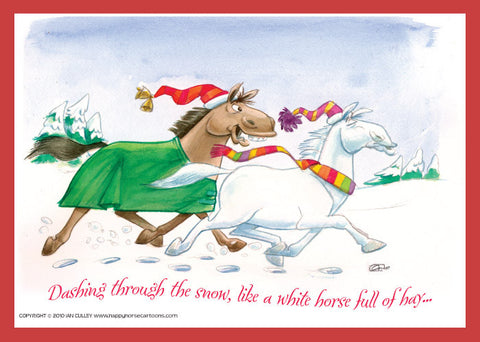 Christmas Horse Cartoon.Card Season S Greetings White Horse Happyhorse Cartoons