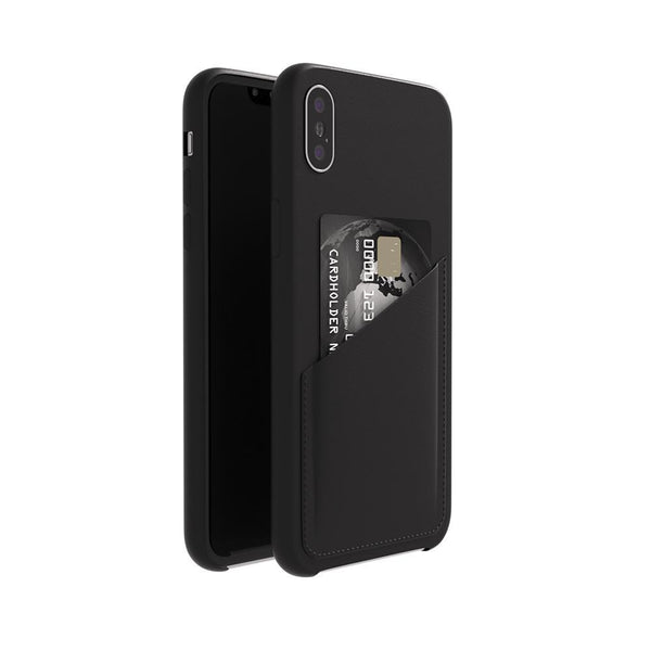 Ultra Slim Slot Card Leather Black Case for iPhone XS