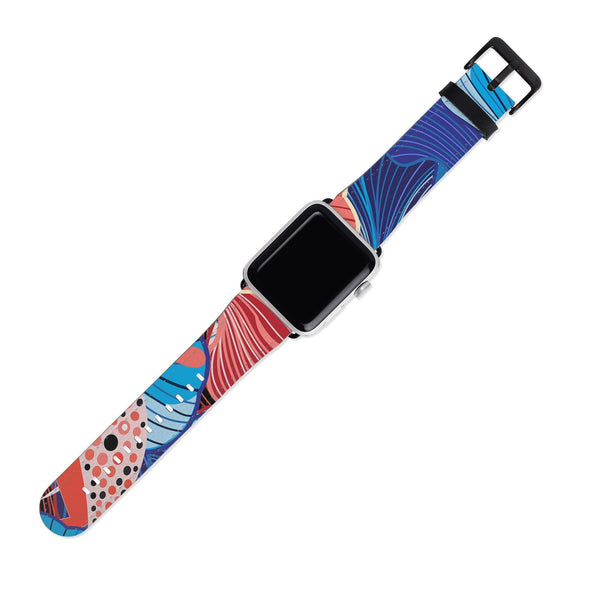 Blue and Coral Art Floral 38MM