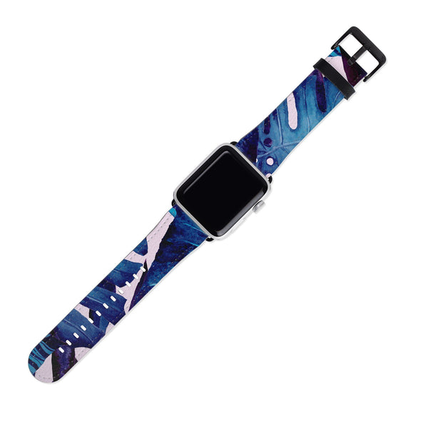 Blue Tropical Leaf Floral 38MM