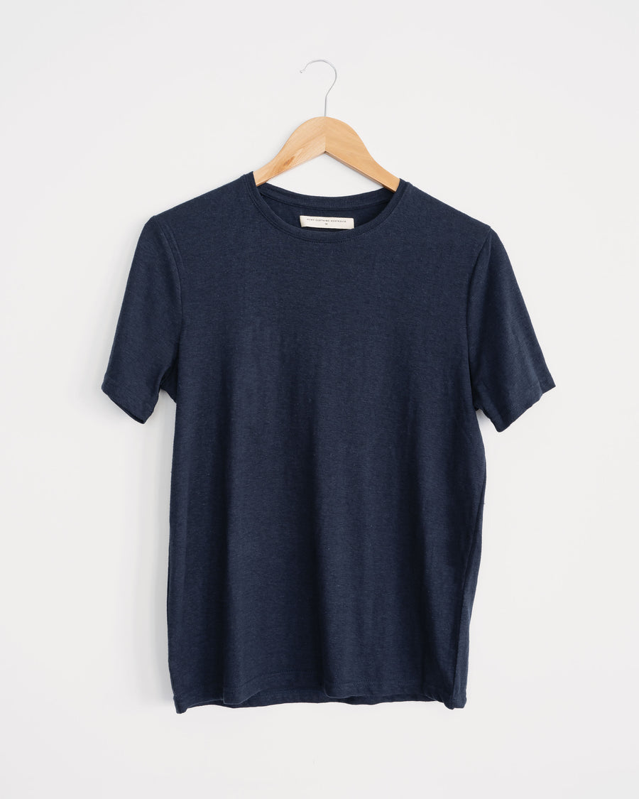 navy hemp and organic cotton classic womens tee. wardrobe staple, sustainable style.