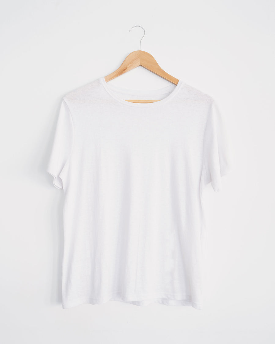 white hemp and organic cotton classic womens tee. wardrobe staple, sustainable style.