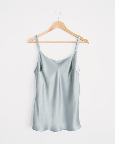 sage pure silk, scoop neck cami. flattering fit, plus size womens fashion.