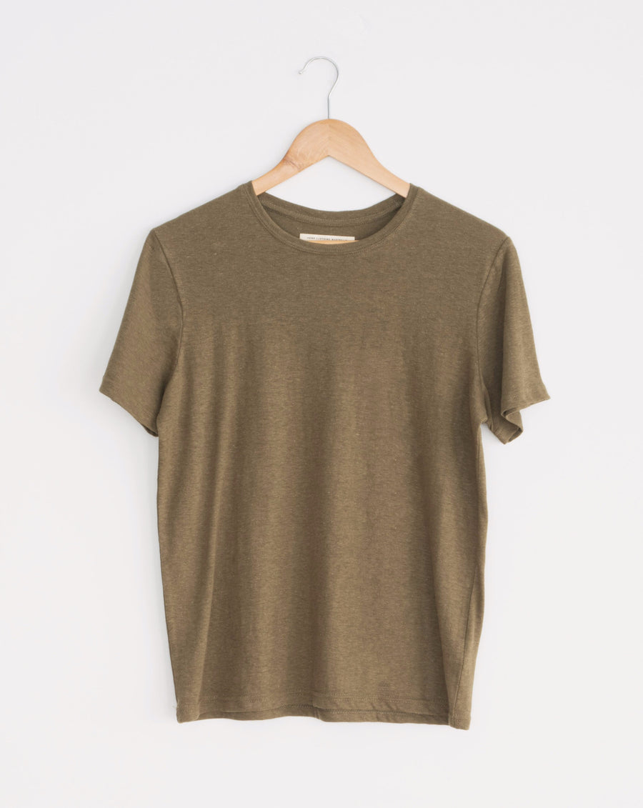 olive green hemp and organic cotton classic womens tee. wardrobe staple, sustainable style.