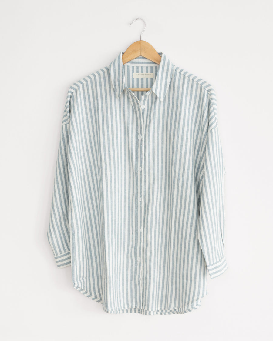 stripe, white, olive and black hemp and organic cotton classic womens shirt. wardrobe staple, sustainable style.