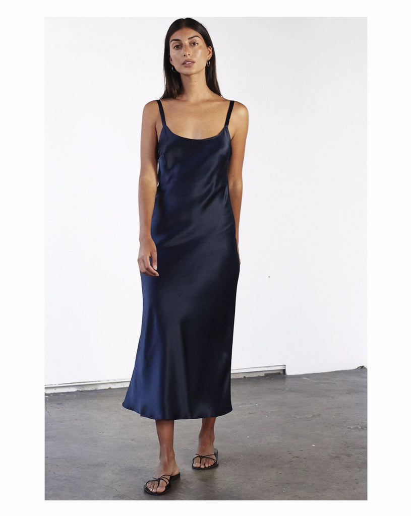 pure navy womens slip dress, sustainable style, flattering fit, plus size, bias cut