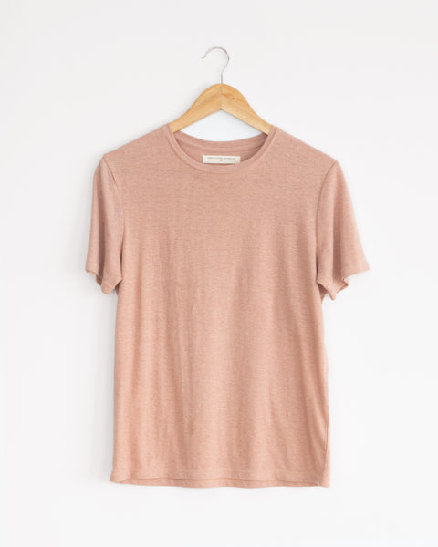 dusty pink hemp and organic cotton classic womens tee. wardrobe staple, sustainable style.