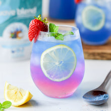 Load image into Gallery viewer, Sparkling wave refresher made using SMOOV wave blend. Mocktail packed with protein, antioxidants, vitamins for energy, digestion, health and immunity.