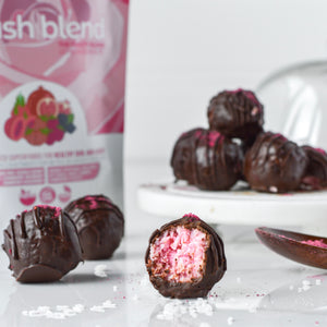 Blush Coconut Bites made using Smoov blush blend. Nutrients for health and beauty.