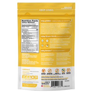 Back of golden blend pouch by Smoov Blends. Displays nutritional information, ingredients, creative description, how to use, why smoov, dietary details, storage instructions, country of origins, manufacturing information about the blend.