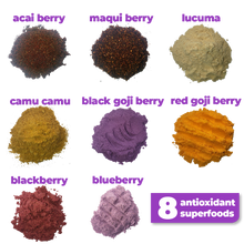 Load image into Gallery viewer, 8 nutritious superfoods used to make Smoov's berry exotic blend- Acai berry, maqui berry, camu camu berry, black goji berry, red goji berry, blackberry, blueberry and lucuma. To help manage and fight stress and aging. Jam packed with antioxidants to help fight against free radicals in your body.