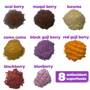 8 nutritious superfoods used to make Smoov's berry exotic blend- Acai berry, maqui berry, camu camu berry, black goji berry, red goji berry, blackberry, blueberry and lucuma. To help manage and fight stress and aging. Jam packed with antioxidants to help fight against free radicals in your body.