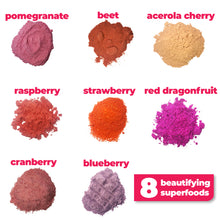 Load image into Gallery viewer, 8 nutritious and bautifying ingredients used to make Smoov's blush blend- pomegranate, red dragonfruit (pink pitaya), acerola cherry, red beet, strawberry, raspberry, cranberry and blueberry. To improve skin, hair and heart health. nutrients and antioxidants to help with growth, development and repair of all body tissue.