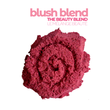 Load image into Gallery viewer, A serving of of Smoov's blush blend- pomegranate, red dragonfruit (pink pitaya), acerola cherry, red beet, strawberry, raspberry, cranberry and blueberry. To improve skin, hair and heart health. nutrients and antioxidants to help with growth, development and repair of all body tissue.