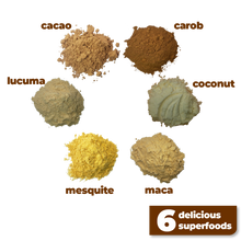 Load image into Gallery viewer, The 6 delicious and nutritious ingredients used to make Smoov's euphoric blend- cacao, carob, mesquite, maca, lucuma and coconut. To help satisfy cravings and boost mood instantly