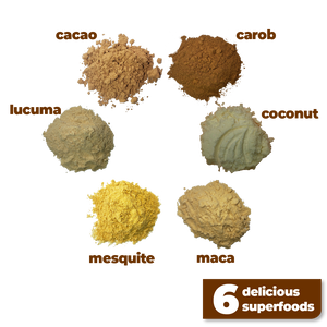 The 6 delicious and nutritious ingredients used to make Smoov's euphoric blend- cacao, carob, mesquite, maca, lucuma and coconut. To help satisfy cravings and boost mood instantly