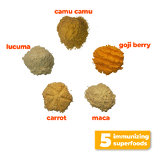 Load image into Gallery viewer, The 5 nutritious and immunizing superfoods used to make Smoov's golden blend- camu camu, goji berry, maca, lucuma and carrot. To help prevent or fight cold and flu by improving immune system function and overall health