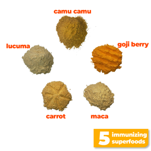 The 5 nutritious and immunizing superfoods used to make Smoov's golden blend- camu camu, goji berry, maca, lucuma and carrot. To help prevent or fight cold and flu by improving immune system function and overall health