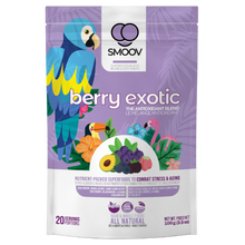Load image into Gallery viewer, 20 servings of Smoov's berry exotic blend- Acai berry, maqui berry, camu camu berry, black goji berry, red goji berry, blackberry, blueberry and lucuma. To help manage and fight stress and aging. Jam packed with antioxidants to help fight against free radicals in your body.