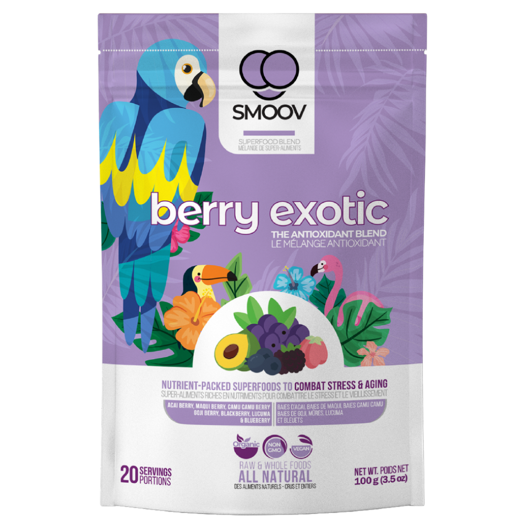 20 servings of Smoov's berry exotic blend- Acai berry, maqui berry, camu camu berry, black goji berry, red goji berry, blackberry, blueberry and lucuma. To help manage and fight stress and aging. Jam packed with antioxidants to help fight against free radicals in your body.