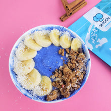 Load image into Gallery viewer, Colourful vibrant blue yogurt bowl made using 2 tsp SMOOV wave blend and a cup of yogurt.