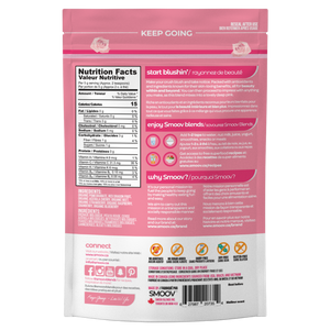 Back of Smoov Blends blush blend- Nutritional information, ingredients, creative description, how to use, why smoov, country of origins and UPC GTIN code