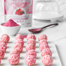 Load image into Gallery viewer, Pink coconut bites made using SMOOV blush blend. Perfect for skin, heart, beauty, health, immunity, energy, antioxidants.