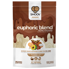 Load image into Gallery viewer, 25 servings of Smoov's euphoric blend- cacao, carob, mesquite, maca, lucuma and coconut. To help satisfy cravings and boost mood instantly.