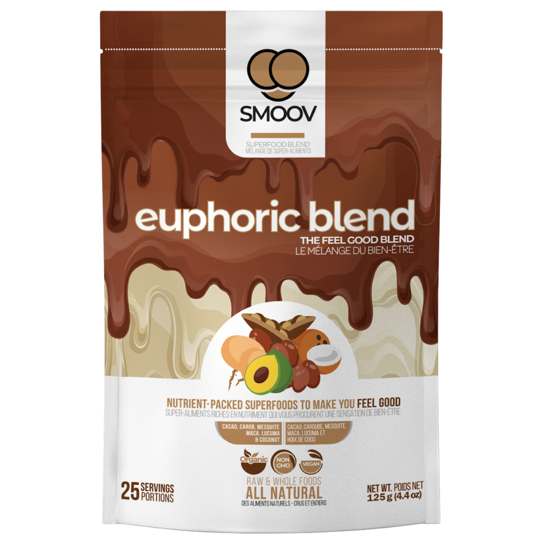 25 servings of Smoov's euphoric blend- cacao, carob, mesquite, maca, lucuma and coconut. To help satisfy cravings and boost mood instantly.