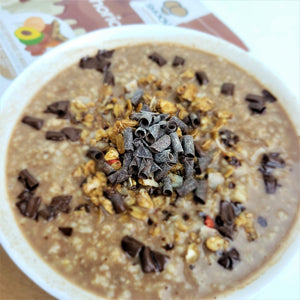 SMOOV euphoric blend mixed into hot oatmeal makes for the perfect breakfast.