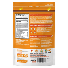 Load image into Gallery viewer, Back of fuel blend pouch by Smoov Blends. Contains nutritional information, ingredients, creative description, how to use, country of origin, storage and dietary details and manufacturing information.
