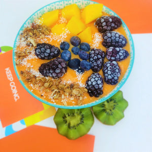 Vibrant and Delicious smoothie bowl made using SMOOV golden blend, a cup of frozen mangoes, a cup of carrots, a banana and a cup of water. Your daily required Vitamin C!