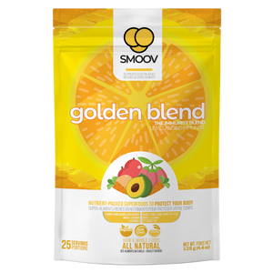 25 servings of Smoov's golden blend. Made with camu camu, goji berry, maca, lucuma and carrot. To help prevent or fight cold and flu by improving immune system function and overall health.