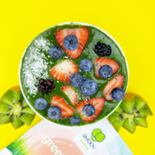 Load image into Gallery viewer, Bowl made using a banana and 2 tsp smoov green blend. Topped off with strawberries, blueberries, blackberries and dessicated coconut.