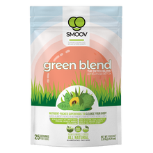 Load image into Gallery viewer, 25 servings of Smoov's green blend- alfalfa grass, barley grass, oat grass, wheat grass, spirulina, chlorella, kale, moringa and lucuma. All to help you detox and get more nutrients.