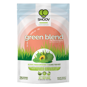 25 servings of Smoov's green blend- alfalfa grass, barley grass, oat grass, wheat grass, spirulina, chlorella, kale, moringa and lucuma. All to help you detox and get more nutrients.