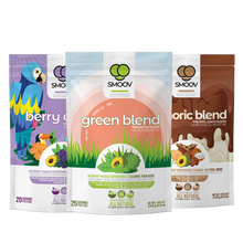 Load image into Gallery viewer, Make healthy FUN & EASY for kids: our delicious green blend, vibrant antioxidant-rich berry exotic blend and rich chocolatey euphoric blend