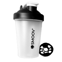 Load image into Gallery viewer, The perfect size BPA-free Smoov shaker for on-the-go. Holds 13.5 oz of liquid. Comes with patented whisk making it easy to mix powdered ingredients. Secure screw-on lid. Embossed ounce and milliliter markings- for convenient measuring. Stay-open flip cap- Won't close while drinking. Large drink pour/ spout. Easy to clean- Dishwasher safe.