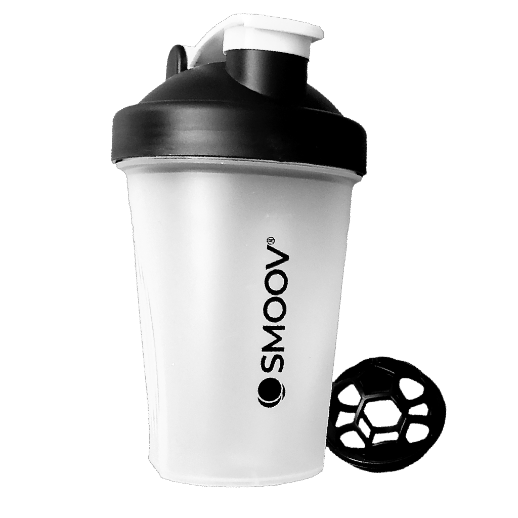 The perfect size BPA-free Smoov shaker for on-the-go. Holds 13.5 oz of liquid. Comes with patented whisk making it easy to mix powdered ingredients. Secure screw-on lid. Embossed ounce and milliliter markings- for convenient measuring. Stay-open flip cap- Won't close while drinking. Large drink pour/ spout. Easy to clean- Dishwasher safe.
