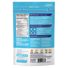 Load image into Gallery viewer, Back of wave blend pouch- Smoov Blends. Contains nutritional information, ingredients, creative description, how to use, why smoov, dietary and storage details, country of origins and UPC GTIN code of blend.