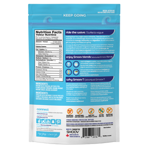 Back of wave blend pouch- Smoov Blends. Contains nutritional information, ingredients, creative description, how to use, why smoov, dietary and storage details, country of origins and UPC GTIN code of blend.