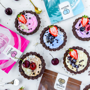 Energizing yogurt tarts made using SMOOV euphoric blend. Raw cacao, carob, maca, lucuma for a mood boost and destress to satisfy cravings in a healthy way.