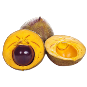 a fresh lucuma fruit cut in half to show the bright yellow flesh and brown seed. One of the ingredients used in Smoov's euphoric blend.