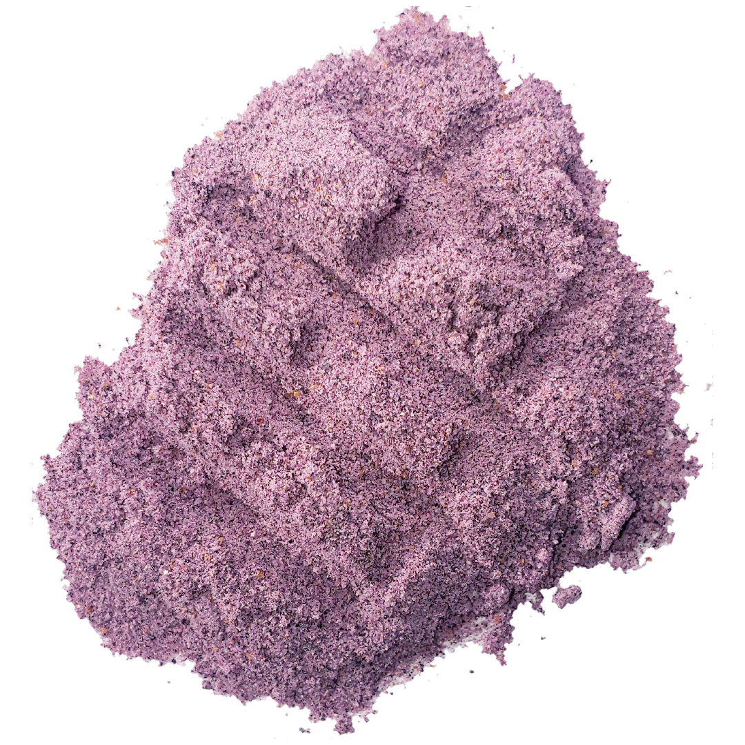 A spoon of vibrant purple blueberry powder from Smoov Blends. Made from organically grown wild blueberries.