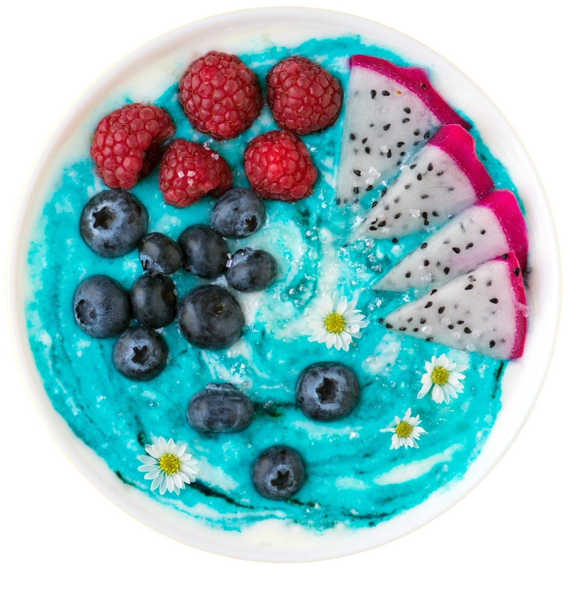 Vibrant blue smoothie bowl made using Smoov's wave blend. It is a vibrant hue of aqua blue, thick and creamy in consistency and topped off with raspberries, blueberries and slices of dragonfruit.