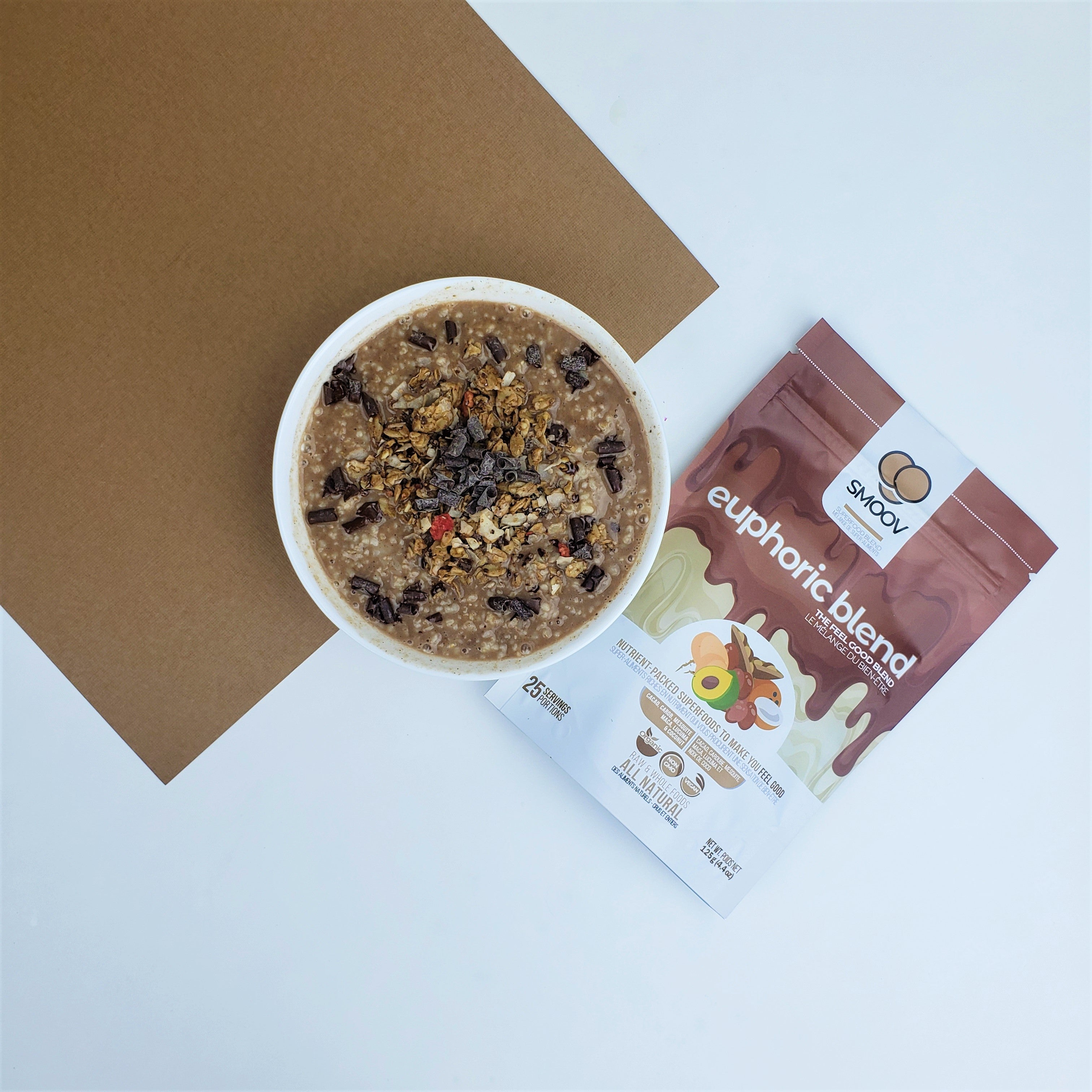 start your day off by entering euphoria. Using cacao and chocolatey superfoods that complement it