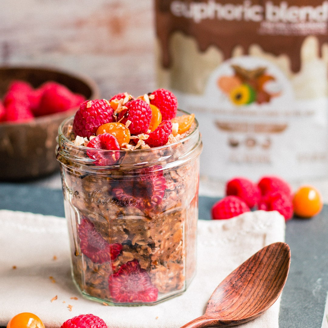 Looking for a pick-me-up? Craving a chocolatey beverage? Why not have smoothie for dessert. Packed with micronutrients and an instant mood-booster.