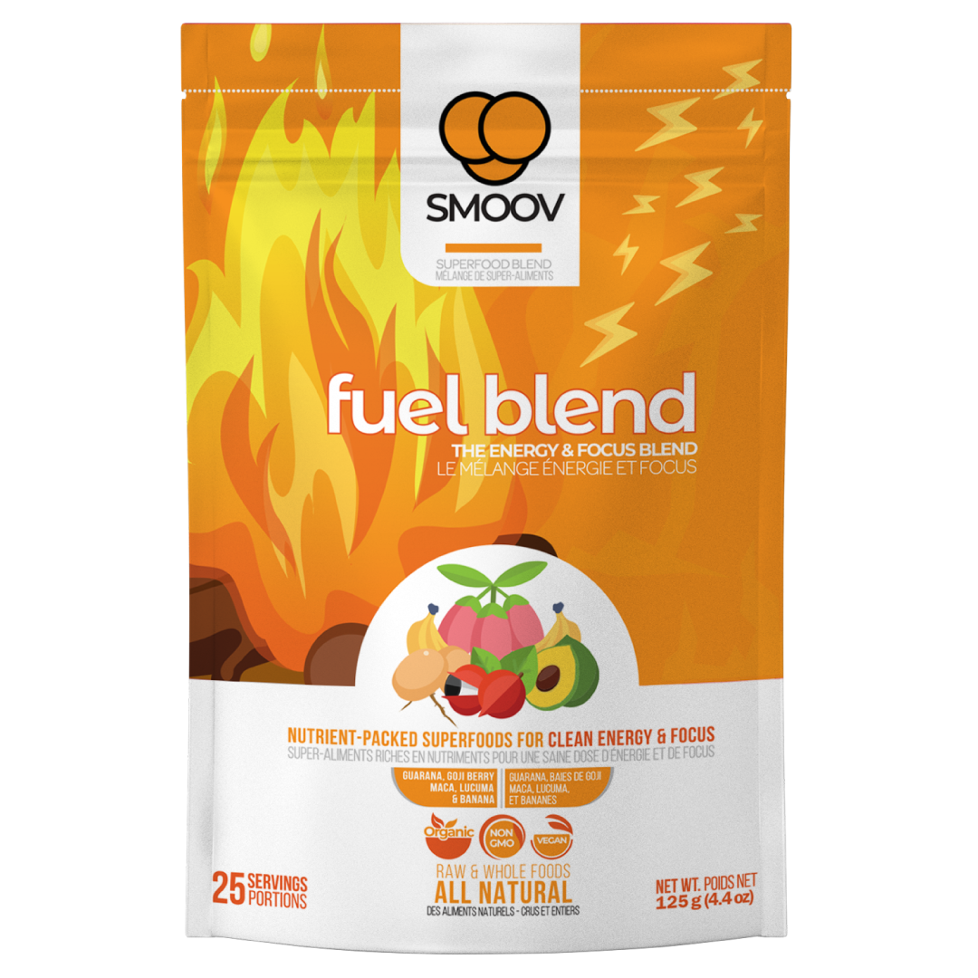 Our fuel blend is made with 5 naturally energizing foods and has the same amount of caffeine as a cup of coffee in every spoonful.