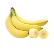 A bright ripe bunch of yellow bananas with two slices of banana. One of the ingredients used in Smoov's fuel blend.